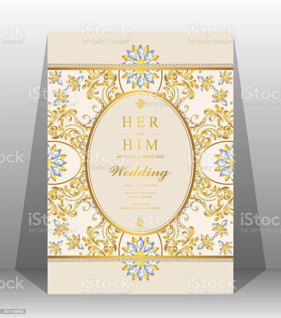 Hochzeit Einladung Kartenvorlagen Mit Gold Gemustert Und Kristalle Auf Dem  Papier Farbe Hintergrund. Lizenzfreies Hochzeit