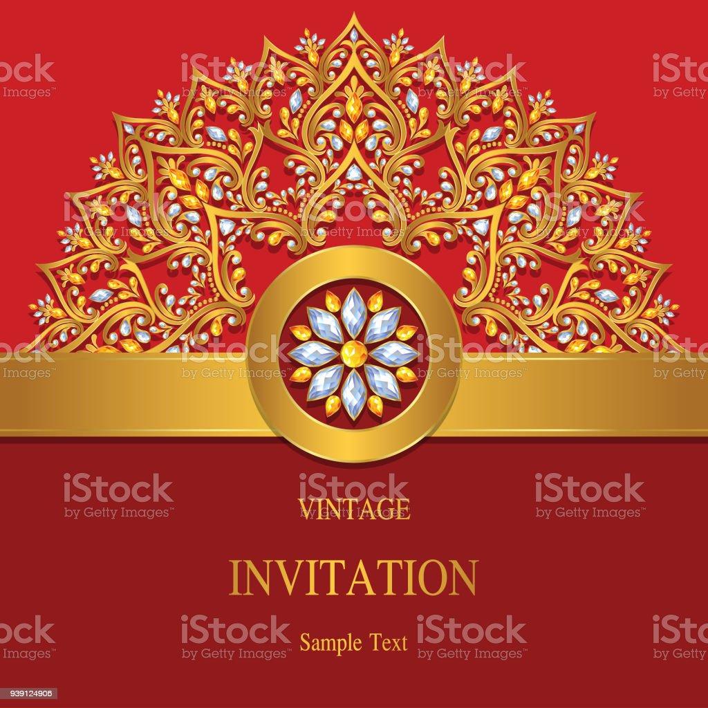 Wedding invitation card templates with gold patterned and crystals wedding invitation card templates with gold patterned and crystals on paper color background royalty stopboris Choice Image