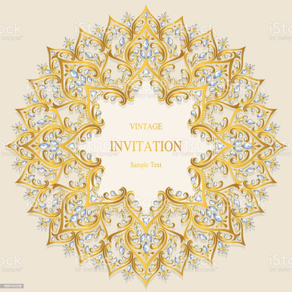 Wedding invitation card templates with gold patterned and crystals wedding invitation card templates with gold patterned and crystals on paper color background royalty stopboris Images