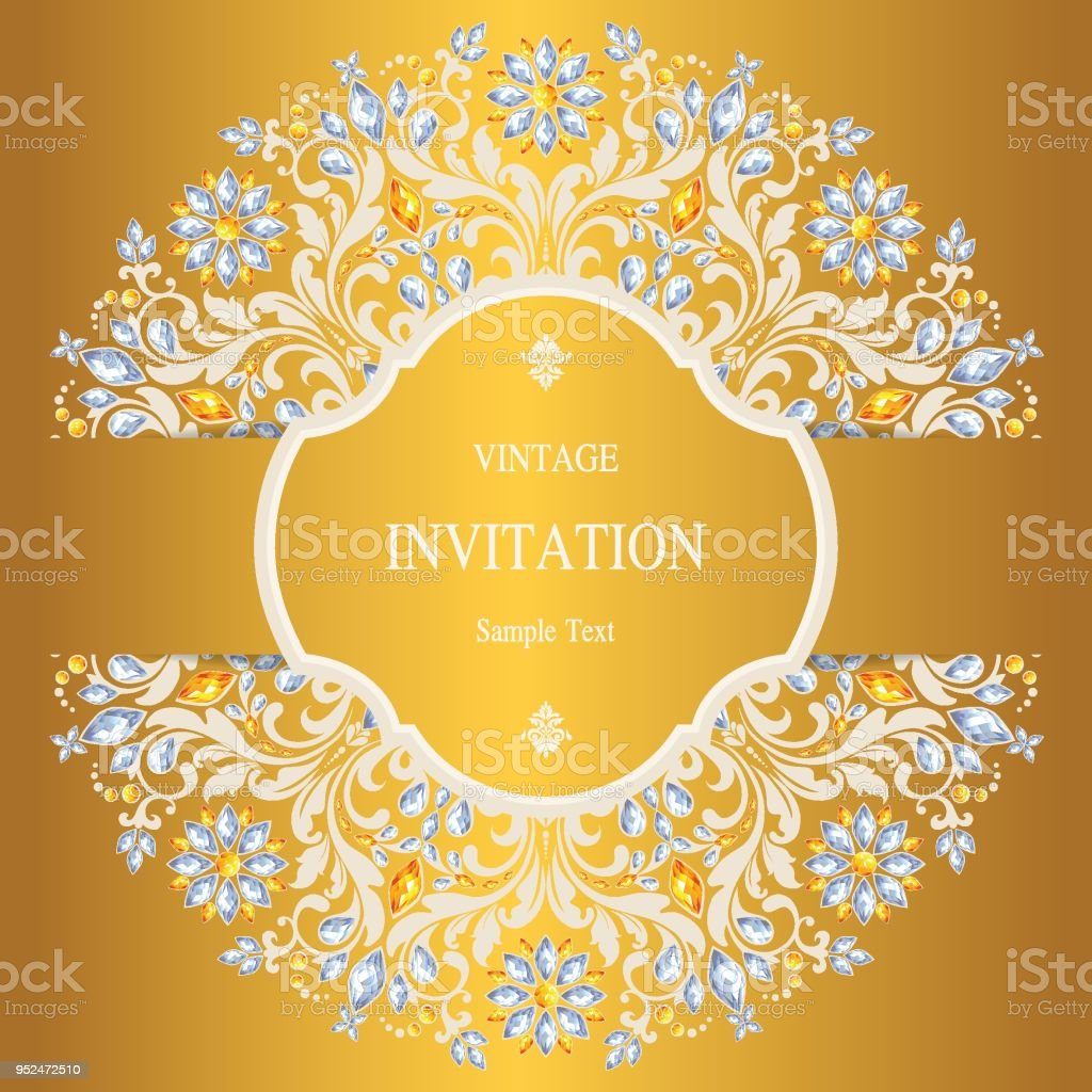 Wedding Invitation Card Templates With Gold Patterned And