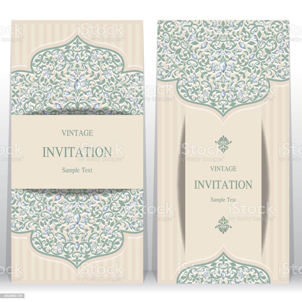 Ilustración De Modelos De Tarjetas De Invitación De Boda Con