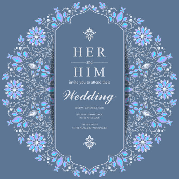 stockillustraties, clipart, cartoons en iconen met bruiloft uitnodiging kaart sjablonen met goud patroon en kristallen op papier kleur achtergrond. - thailand