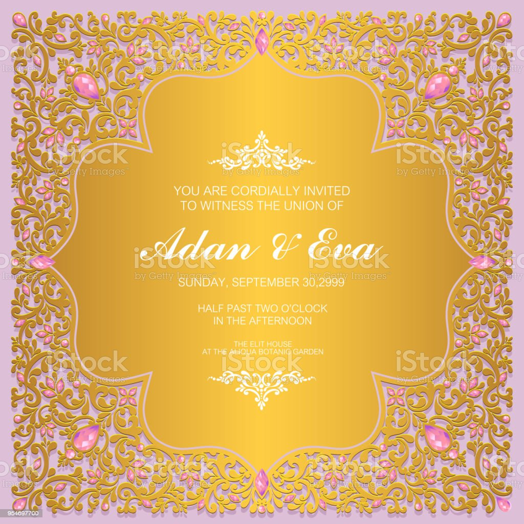 Wedding Invitation Card Templates With Gold Patterned And Crystals On Paper Color Background Stock Illustration Download Image Now