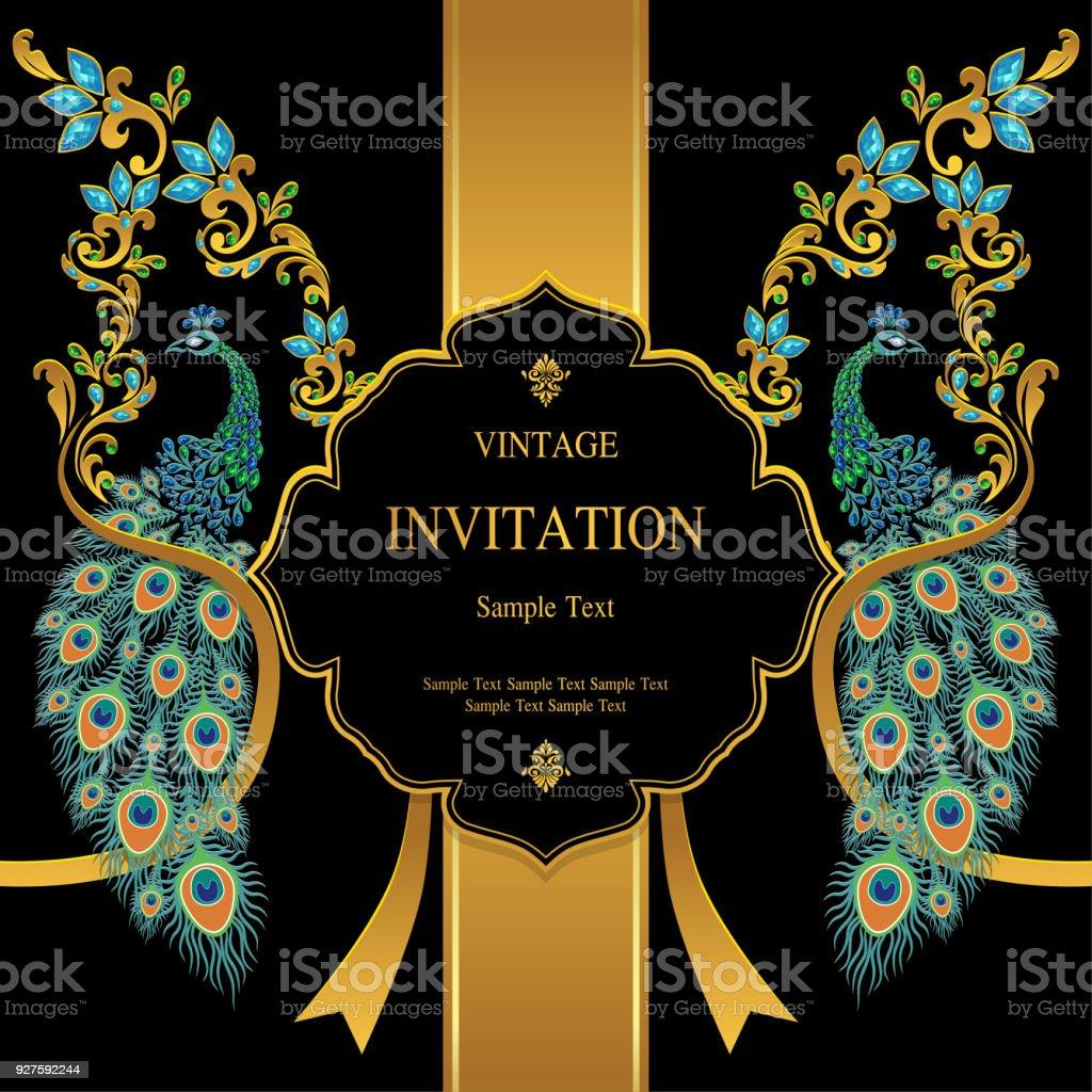 Ilustración De Plantillas De Tarjeta De Invitación De Boda Con Oro Con Motivos De Plumas De Pavo Real Y Cristales Sobre Papel De Color Fondo Y Más