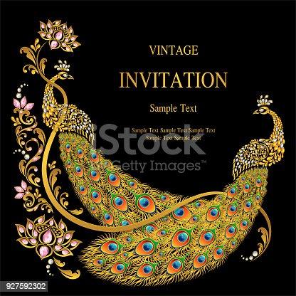Wedding invitation card templates with gold peacock feathers wedding invitation card templates with gold peacock feathers patterned and crystals on paper color background arte vetorial de stock e mais imagens de stopboris Images