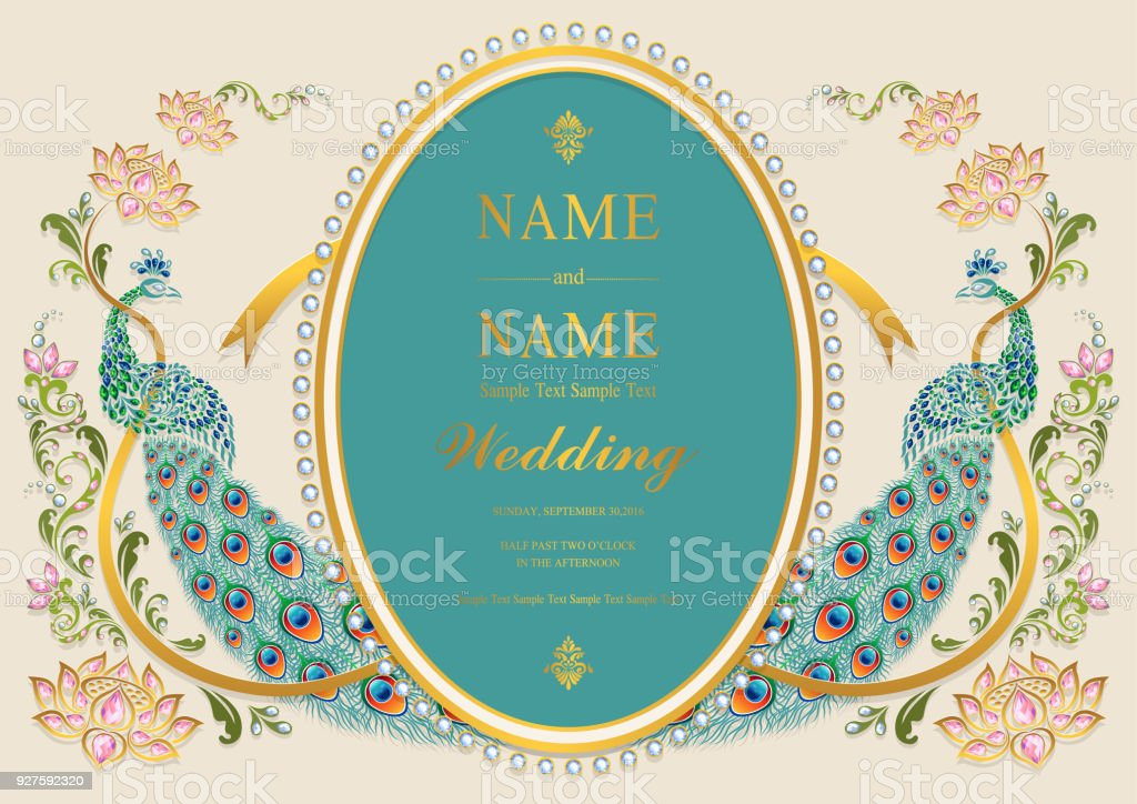 Wedding Invitation Card Templates With Gold Peacock Feathers