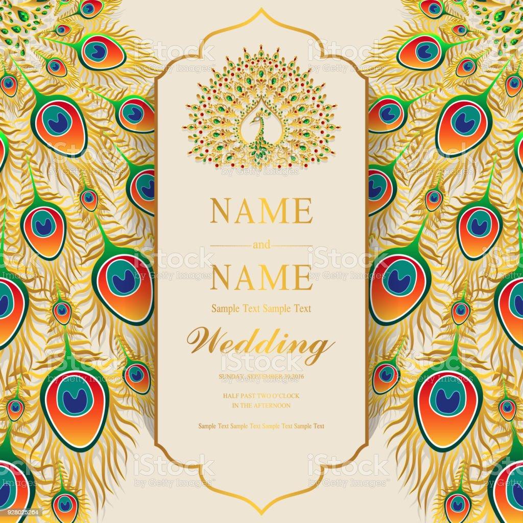 Wedding invitation card templates with gold peacock feathers crystal glitter gold pebble dubai wedding invitation stopboris Choice Image