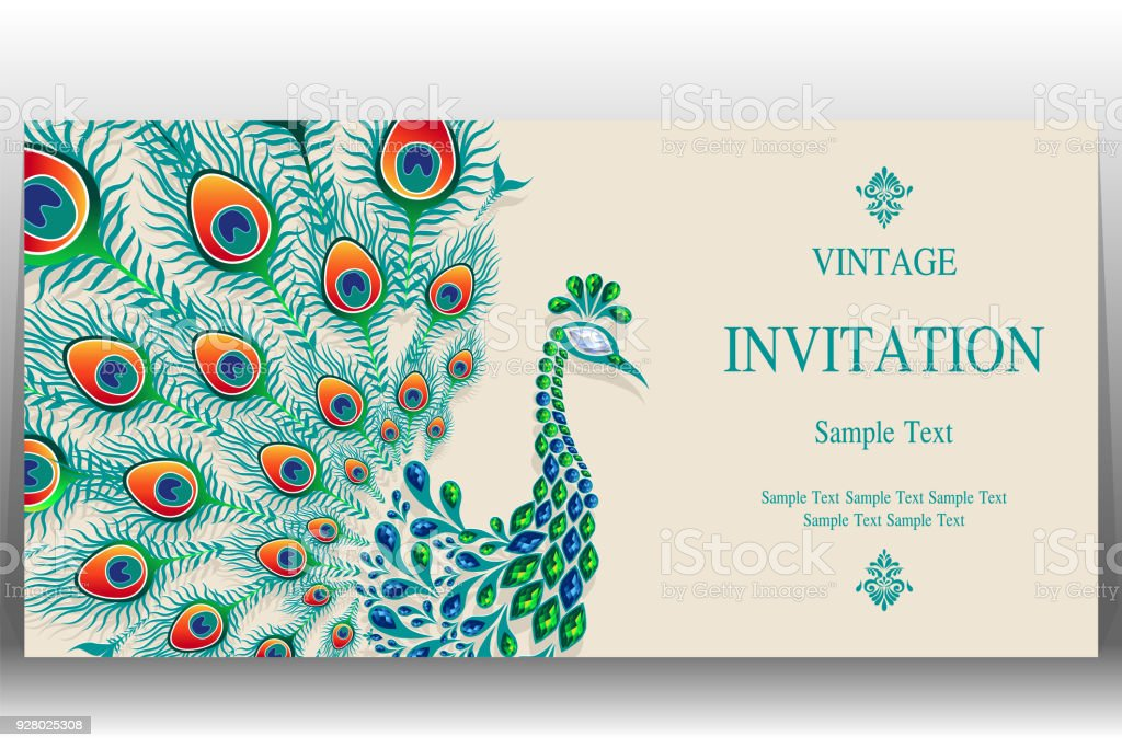 Wedding invitation card templates with gold peacock feathers wedding invitation card templates with gold peacock feathers patterned and crystals on paper color background stopboris Images