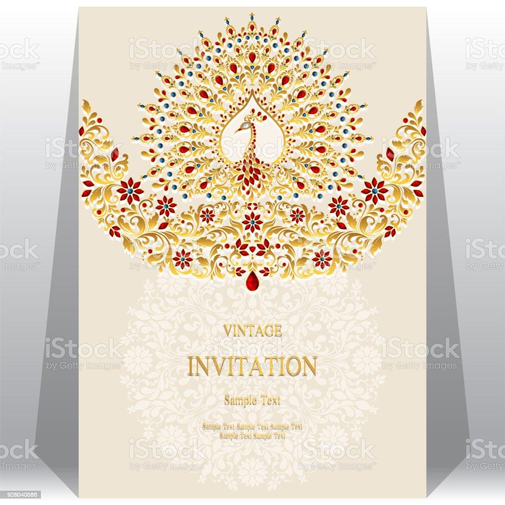 Ilustración de Plantillas De Tarjeta De Invitación De Boda Con Oro ...