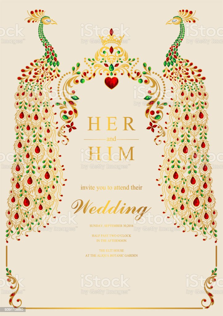 Wedding Invitation Card Templates With Gold Peacock