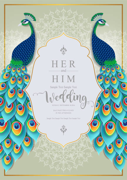 wedding invitation card templates with gold peacock feathers patterned and crystals on paper color background. - peacock stock illustrations