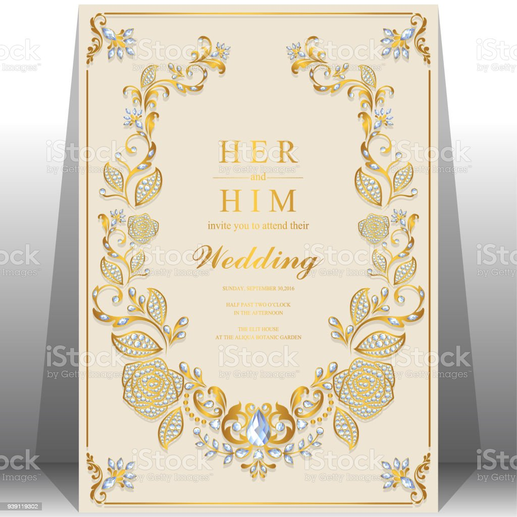 Wedding Invitation Card Templates With Gold Rose Patterned And ...