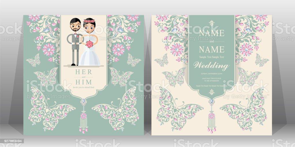 Hochzeit Einladung Kartenvorlagen Mit Indischen Frauen Und Männer Farbe Trachten  Hochzeit Auf Dem Papier Hintergrund.