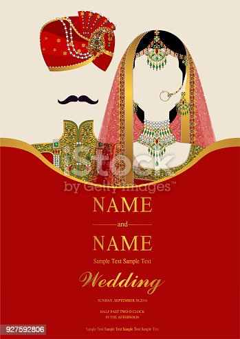 Wedding Invitation Card Templates With Indian Man And Women In Traditional Clothes On Paper Color Background Stock Vector Art More Images Of Adult