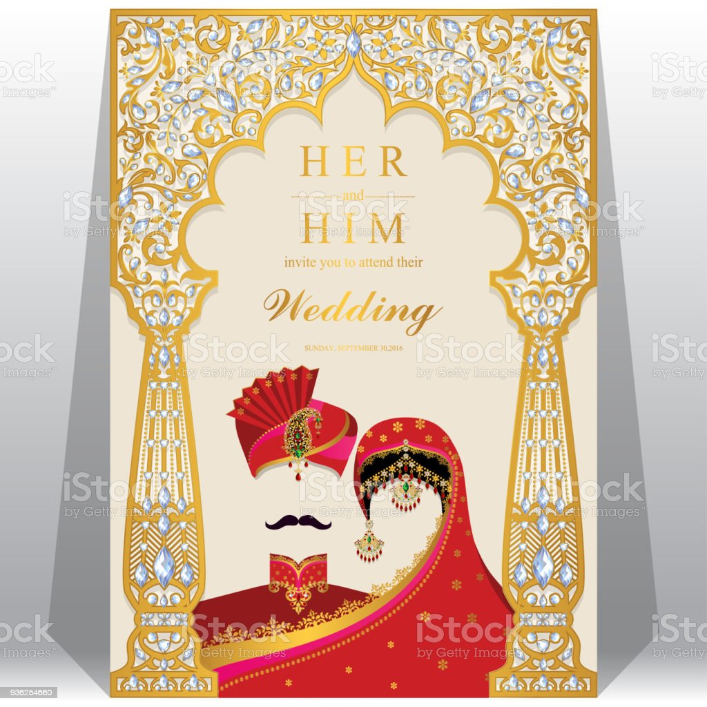 Wedding invitation card templates with indian man and women in wedding invitation card templates with indian man and women in traditional clothes on paper color background stopboris Images