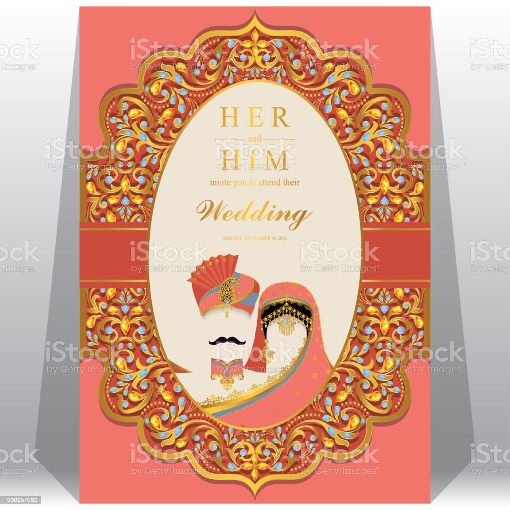 wedding invitation card templates with indian man and women in