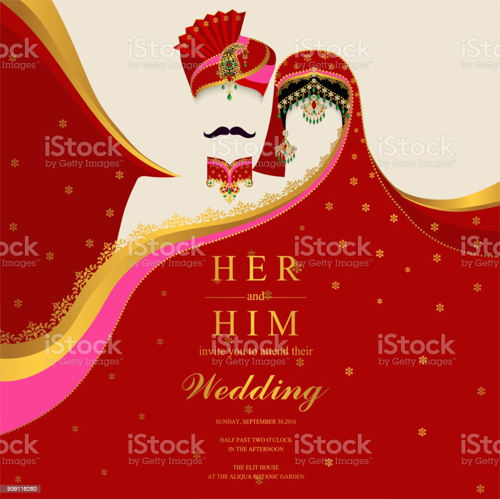 Wedding Invitation Card Templates With Indian Man And Women In ...