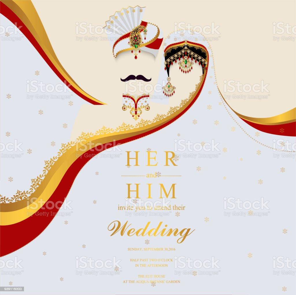 Hochzeit Einladung Kartenvorlagen Mit Indischen Frauen Und Manner In
