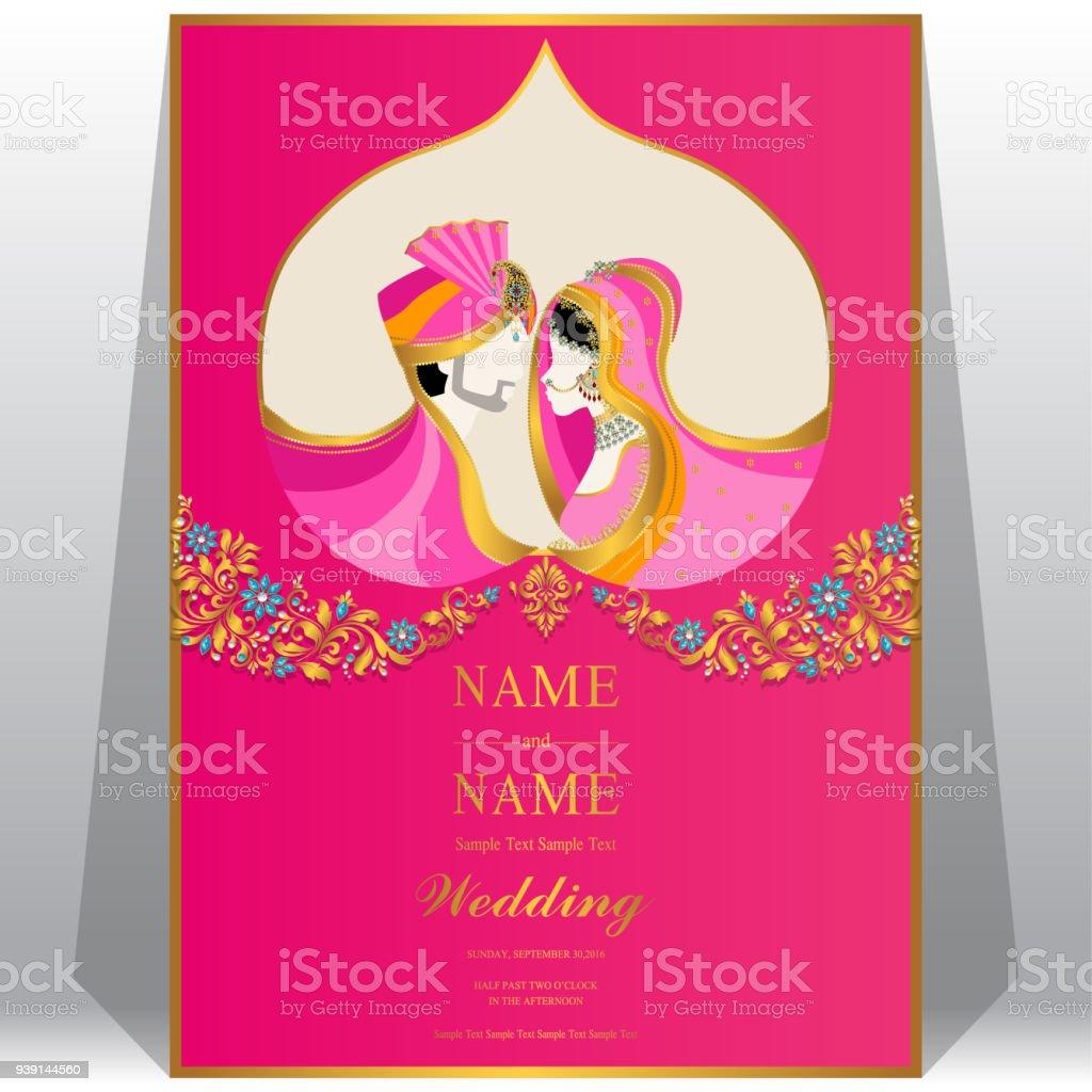 Hochzeit Einladung Kartenvorlagen Mit Indischen Frauen Und Männer In  Traditioneller Kleidung Auf Dem Papier Farbe Hintergrund