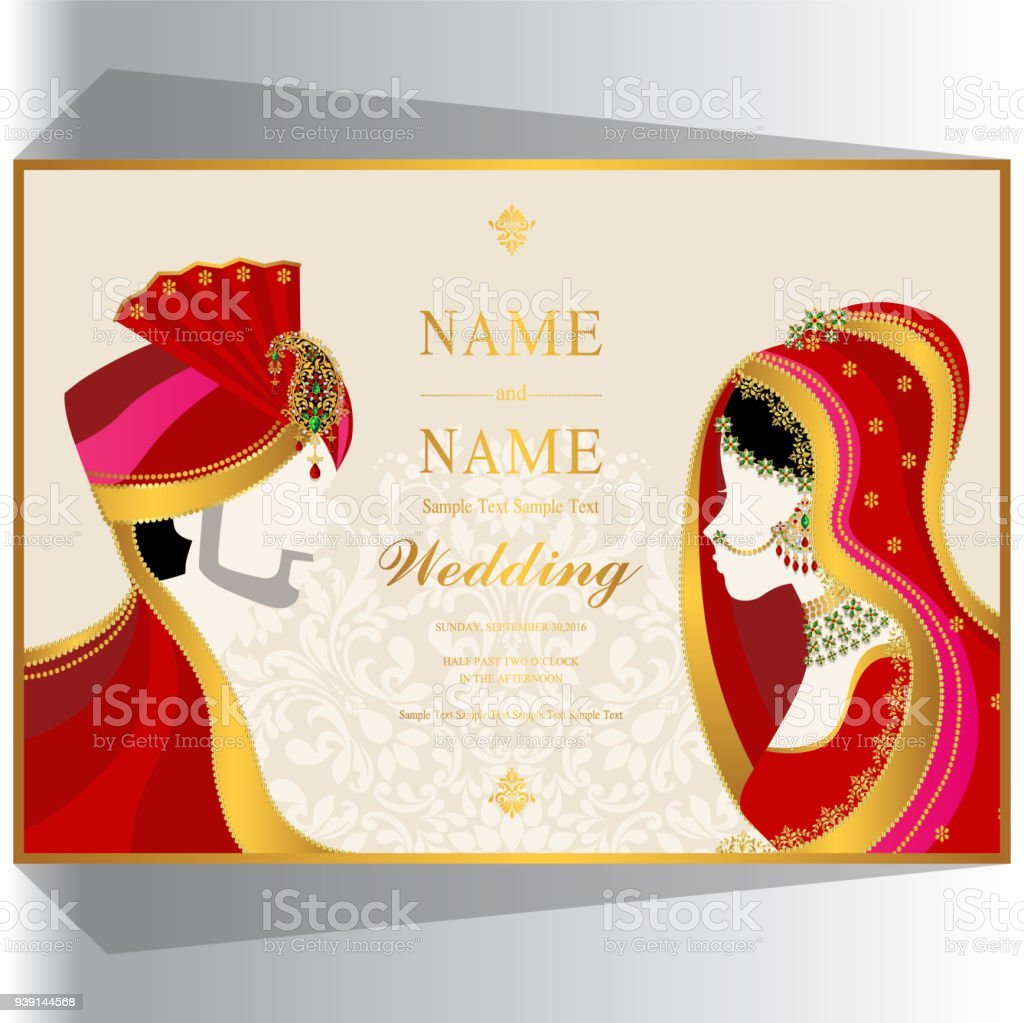 Wedding Invitation Card Templates With Indian Man And Women