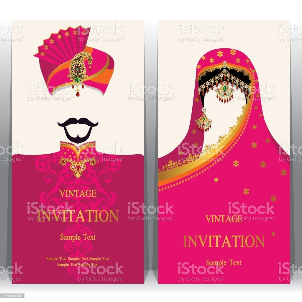Hochzeit Einladung Kartenvorlagen Mit Indischen Frauen Und Männer In ...