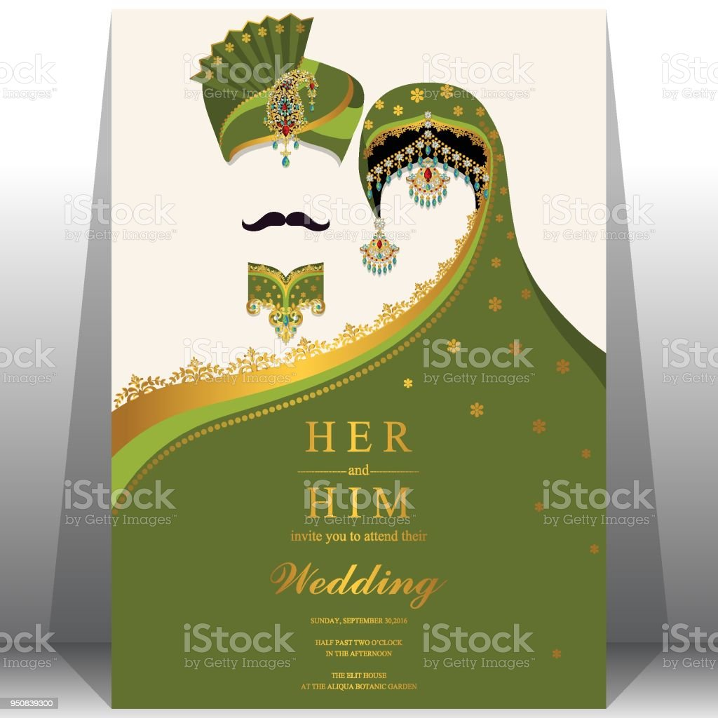 Wedding Invitation Card Templates With Indian Man And Women In Traditional Clothes On Paper Color Background Stock Illustration Download Image Now