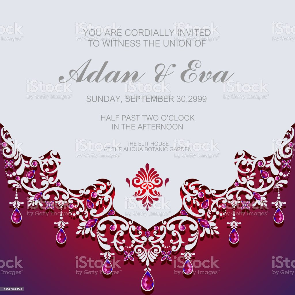 Wedding Invitation Card Templates With Paper Art And Craft Style On