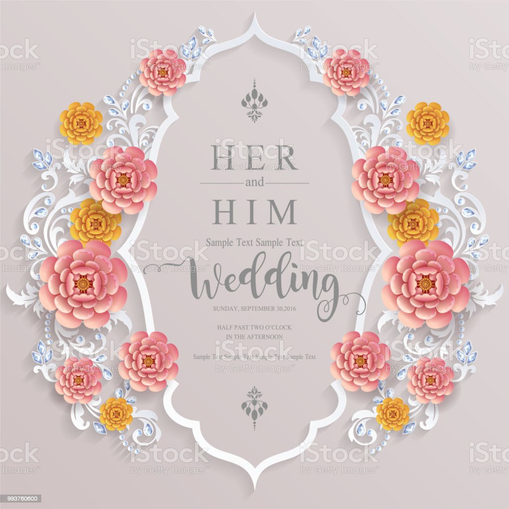 Wedding Invitation Card Templates With Paper Art And Craft Style On Paper Color Background Stockowe Grafiki Wektorowe I Więcej Obrazów Brokat