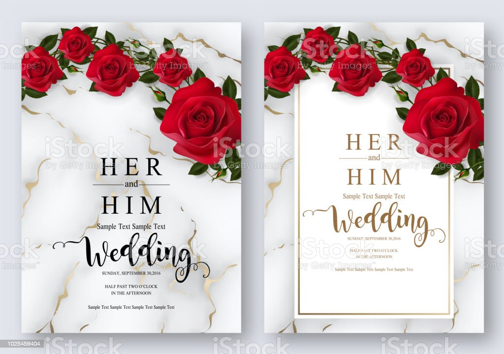 Wedding Invitation Card Templates With Realistic Of ... Red And White Wedding Invitations Templates