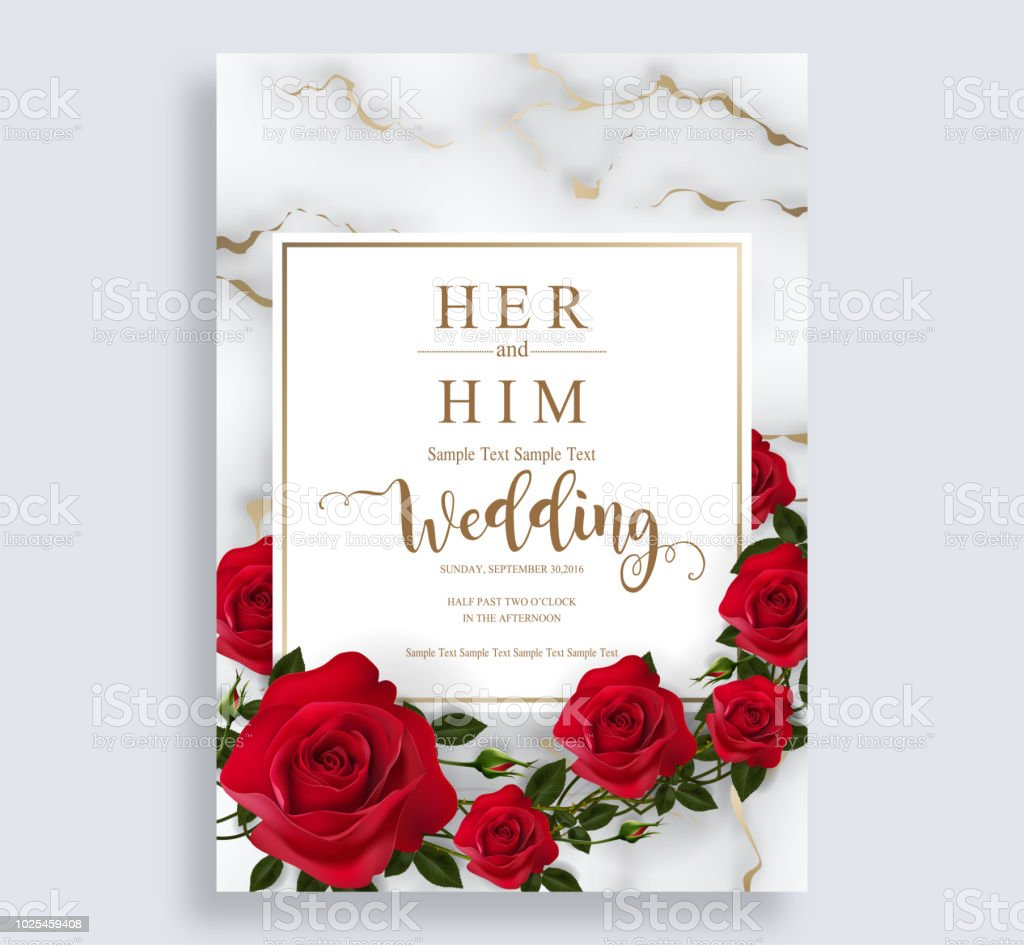 Wedding Invitation Card Templates With Realistic Of Beautiful Red