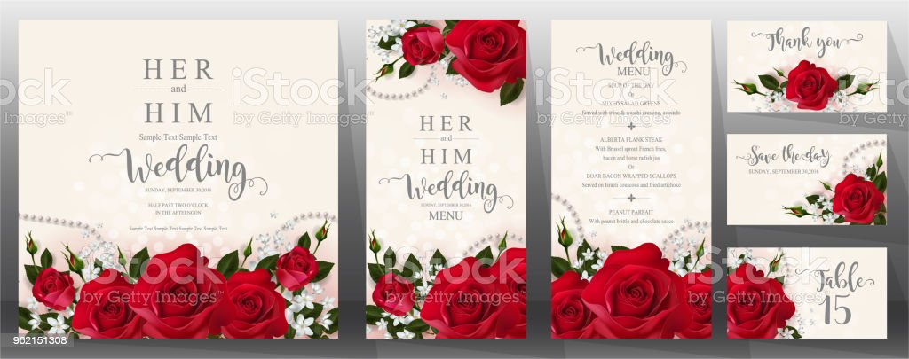 Beautiful Wedding Invitation Templates: Wedding Invitation Card Templates With Realistic Of