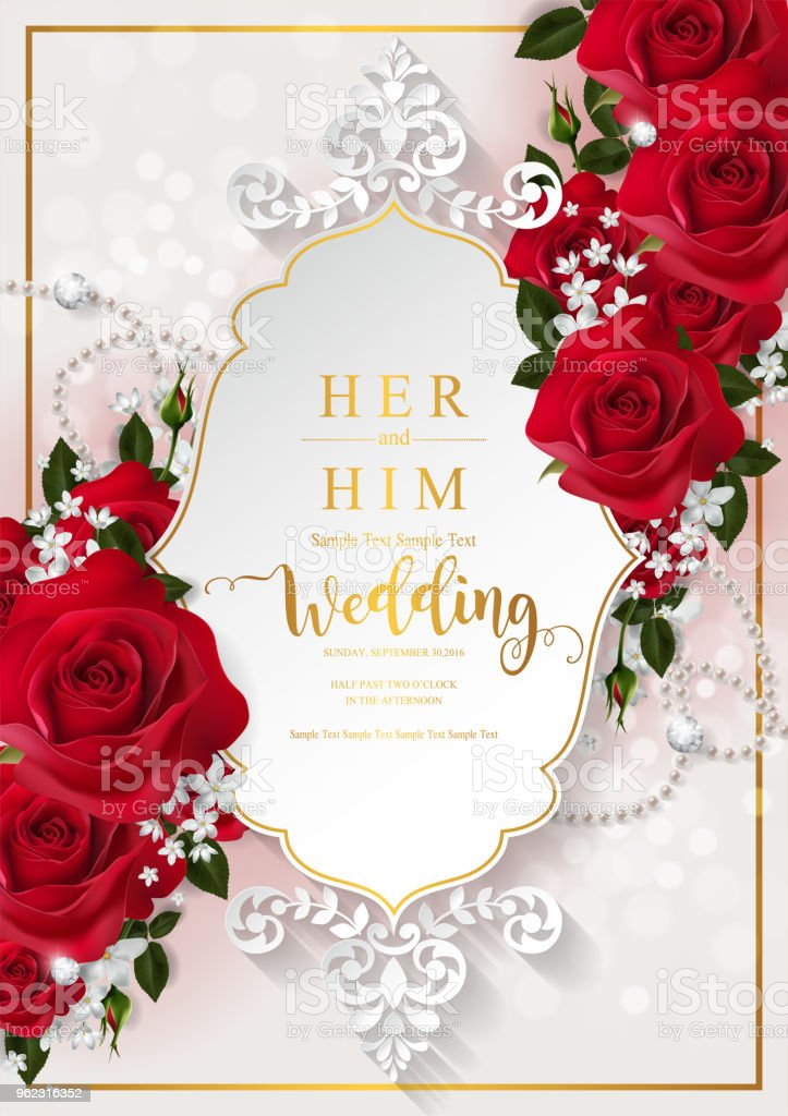 wedding invitation card templates with realistic of
