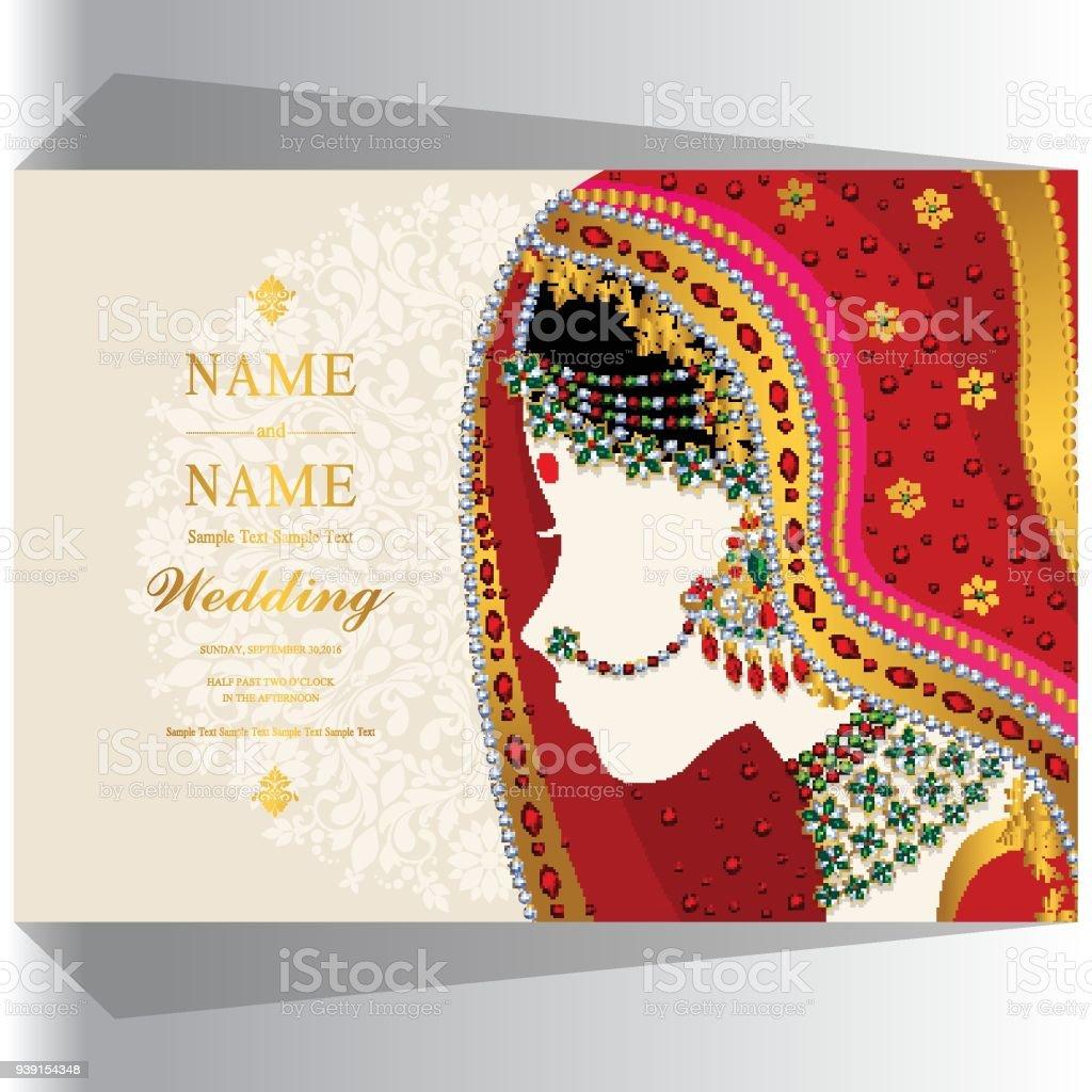 Hochzeit Einladung Kartenvorlagen Mit Frauen Traditionelle Kleidung In  Indien Auf Papierfarbe Hintergrund. Lizenzfreies Hochzeit Einladung