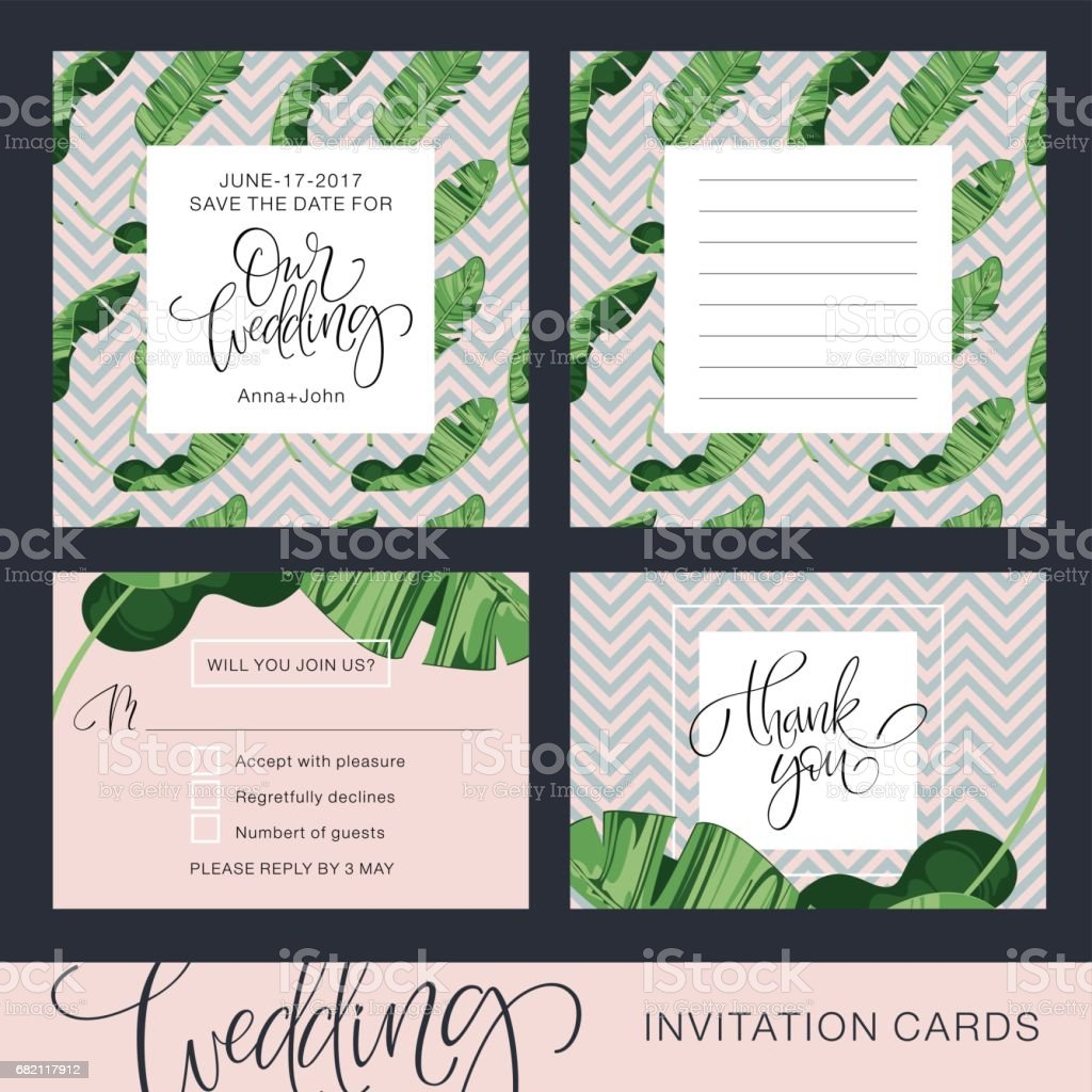wedding invitation card tropical background banana save