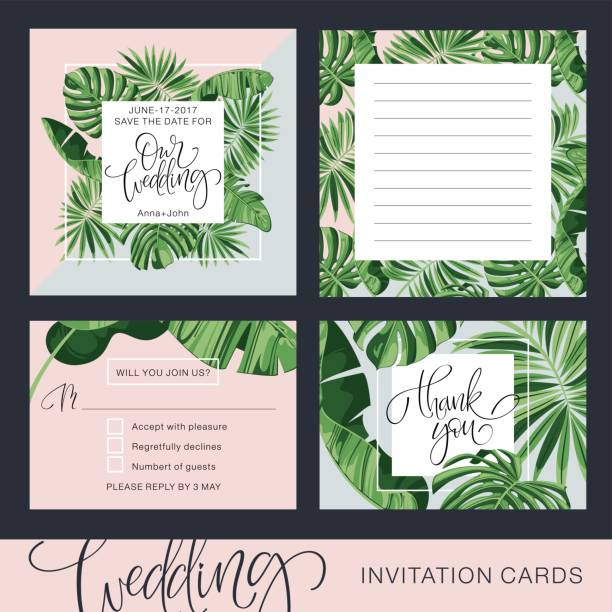 Wedding Invitation Card. Tropical Background. Banana. Save the Date. Vector Template. RSVP. Wedding Invitation Card. Tropical Background. Banana. Save the Date. Vector Template. RSVP. banana borders stock illustrations