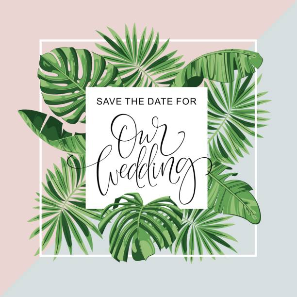 Wedding Invitation Card. Tropical Flowers Background. Banana. Save the Date. Vector Template. RSVP. vector art illustration