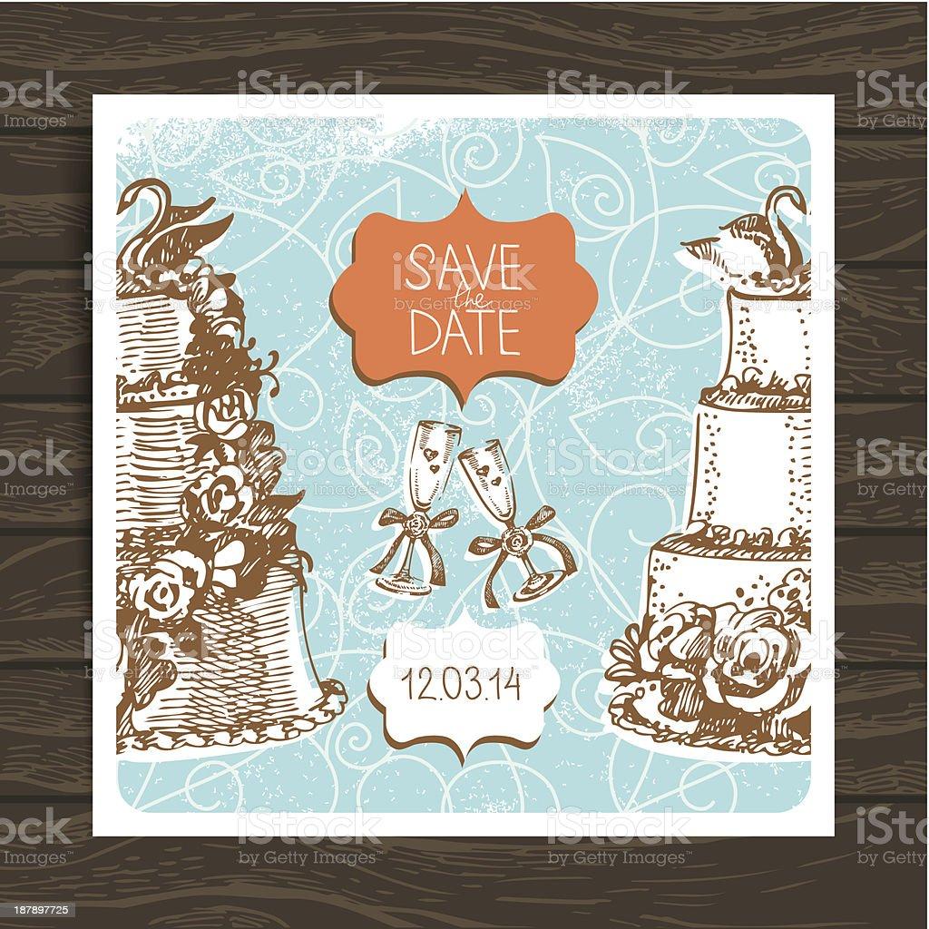 Wedding invitation card royalty-free stock vector art