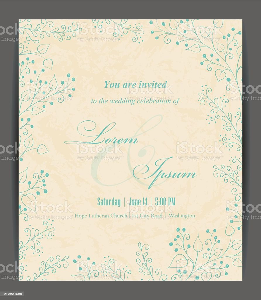 Wedding invitation card vector art illustration