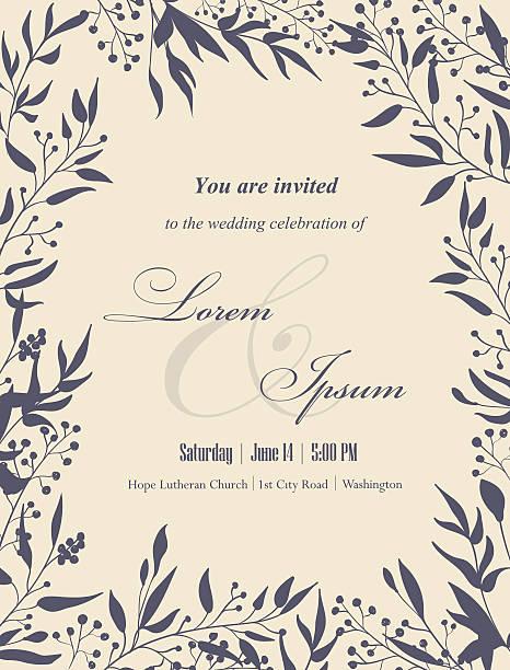 wedding invitation card. - wedding invitation stock illustrations, clip art, cartoons, & icons