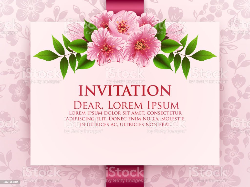 Wedding Invitation Card Vector Invitation Card With Floral