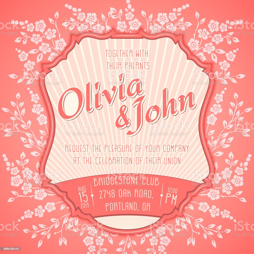 Wedding Invitation Card Vector Invitation Card With Seamless Floral