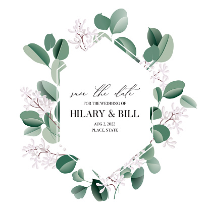 Wedding invitation card watercolor  eucalyptus leaves, floral  border, leaves frame. Evergreen watercolour  greenery  floral wreath, plant background design. Succulent background texture