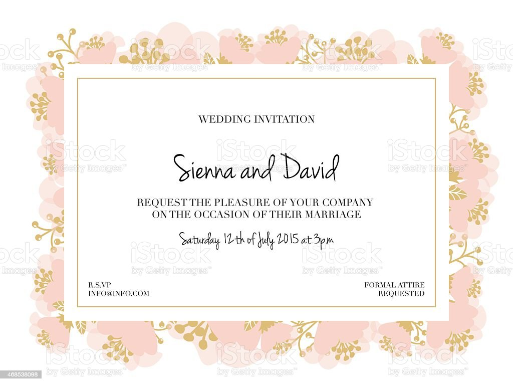Wedding Invitation Card With Blossoming Flowers Stock
