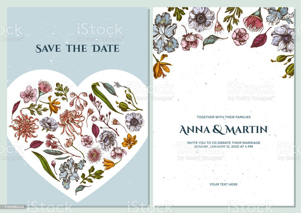 Wedding Invitation Card With Colored Japanese Chrysanthemum