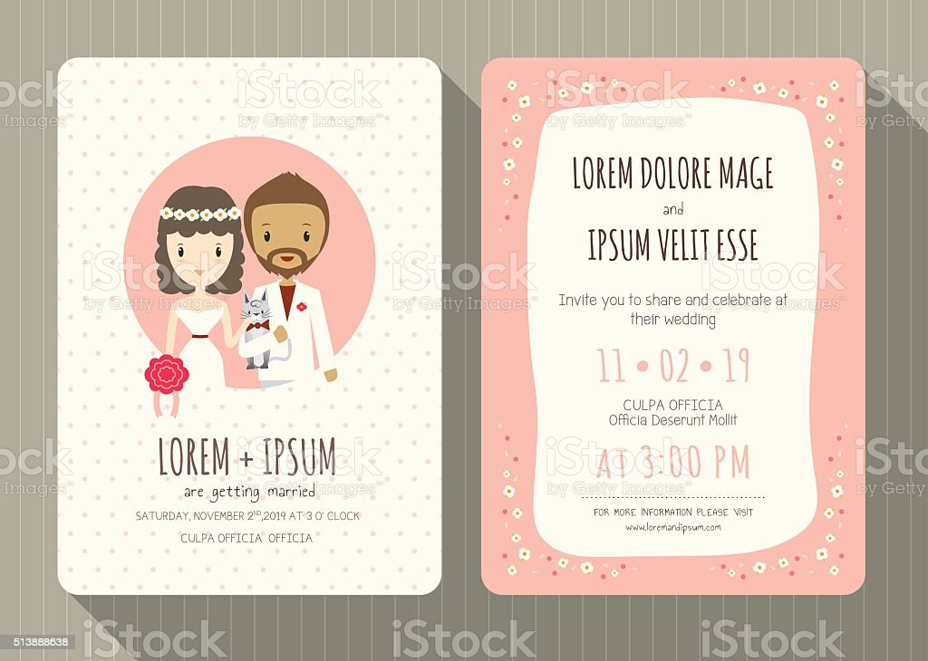 Hochzeit Einladung Karte Mit Hübsch Bräutigam Und Braut Comic Lizenzfreies  Vektor Illustration