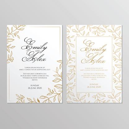 Wedding invitation card with floral ornament. Botanical gold ornament. Vector illustration.