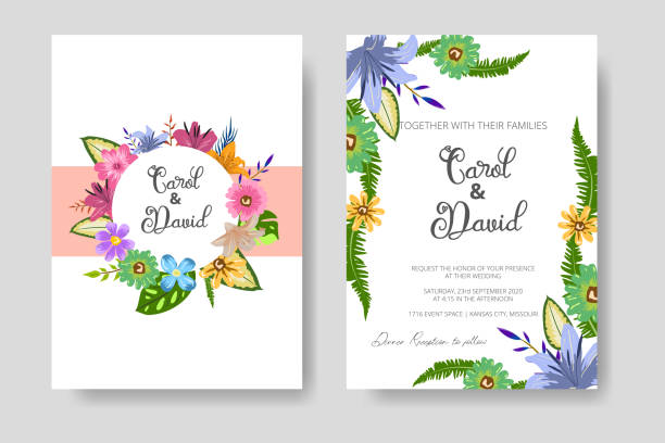 Wedding Invitation Card with Floral Template with green leaf concept. Create your Wedding Invitation Card with Floral Decoration vector art illustration