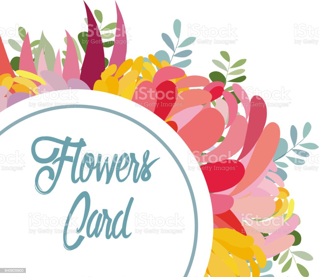 Wedding Invitation Card With Flower Floral Background Stock