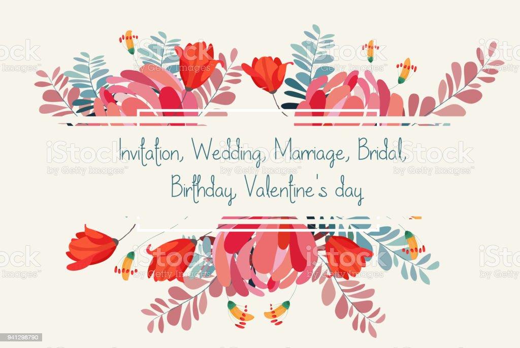 Wedding invitation card with flower. Romantic Peonies background vector art illustration