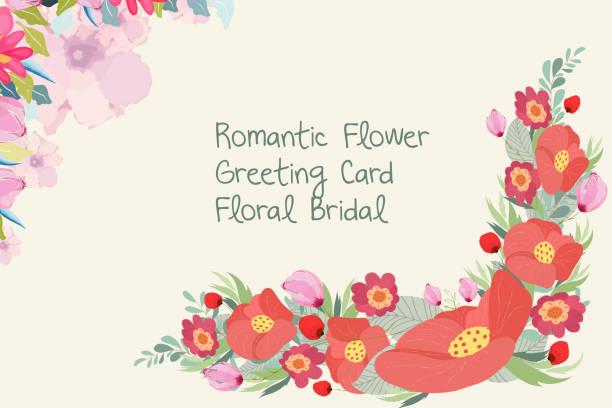 白い背景の上の花テンプレート招待状結婚式 - ガーデンパーティ点のイラスト素材/クリップアート素材/マンガ素材/アイコン素材